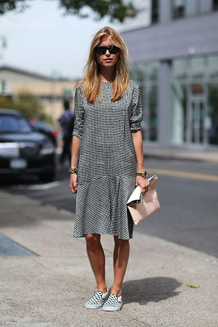 2-Le-Fashion-Blog-15-Ways-To-Wear-Checkered-Van-Slip-On-Sneakers-Pernille-Street-Style-Gingham-Dress-Via-Harpers-Bazaar
