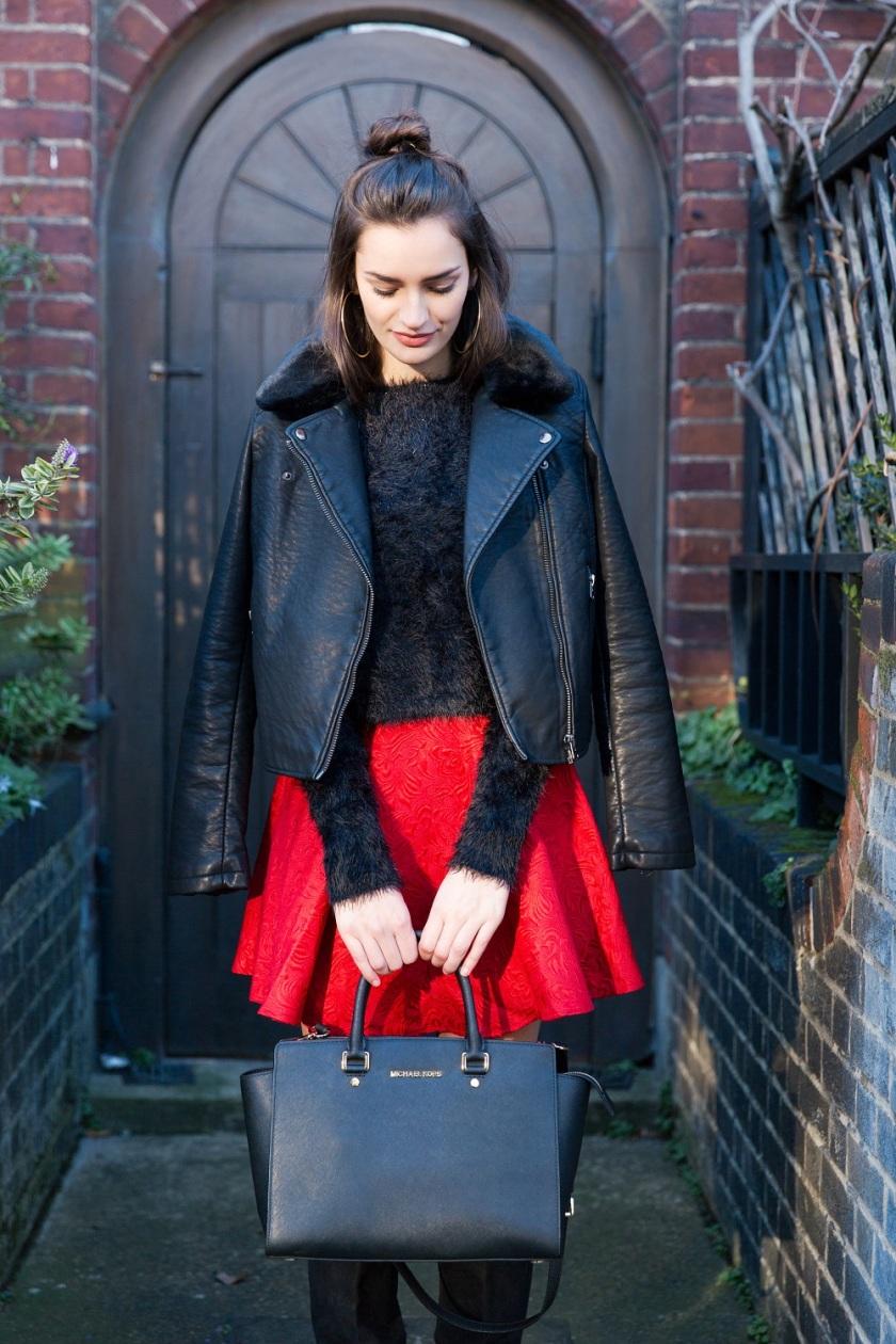 peexo-fashion-winter-embroidered-hm-knee-high-boots-red-dress-skirt-fluffy-top-leather-jacket-topshop-high-bun-michael-kors-handbag-selma-2