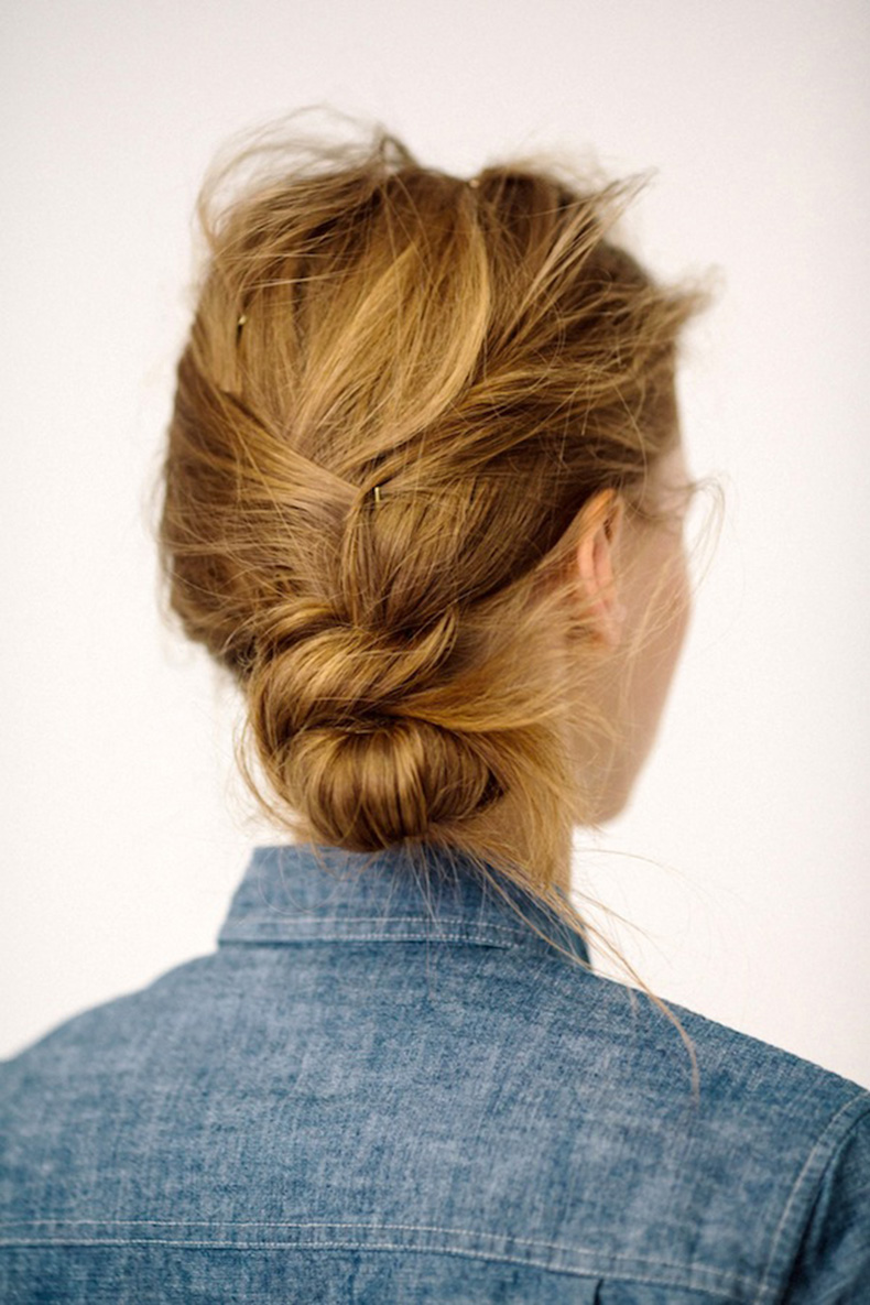 Le-Fashion-Blog-Messy-Low-Side-Knot-Bun-Chignon-Up-Do-Hairstyle-Inspiration-Chambray-Denim-Shirt-Via-J-Crew