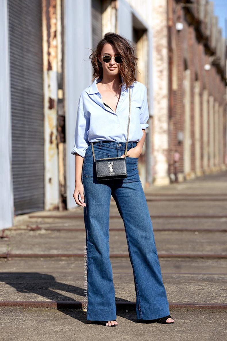 Le-Fashion-Blog-Eleanor-Pendleton-Wavy-Bob-Blue-Button-Down-Shirt-YSL-Crossbody-Bag-Wide-Leg-Jeans-Via-Stockholm-Streetstyle