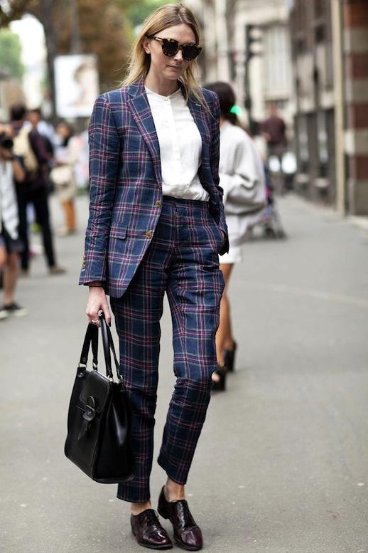 le-fashion-blog-street-style-pfw-contrasting-sunglasses-tartan-suit-white-collarless-button-down-shirt-leather-tote-bag-burgundy-oxfords-via-popsugar