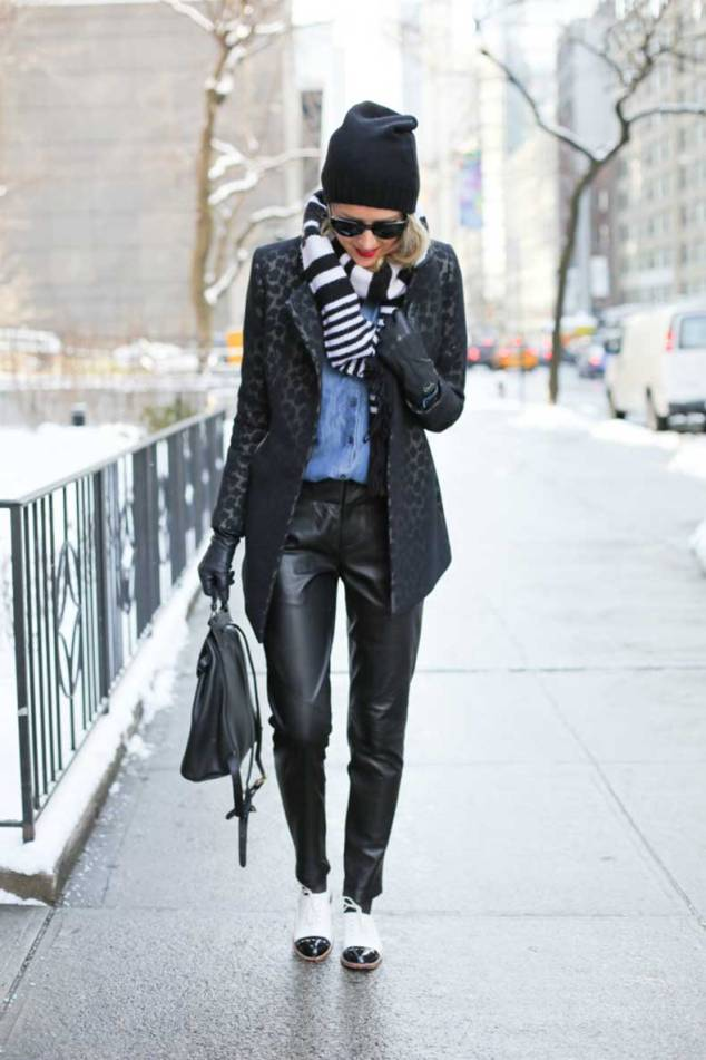 alice-olivia-leather-pants-kate-spade-black-and-white-oxfords-reiss-black-leopard-coat-ann-taylor-chambray-shirt-fashion-blogger-fashion-week-street-style