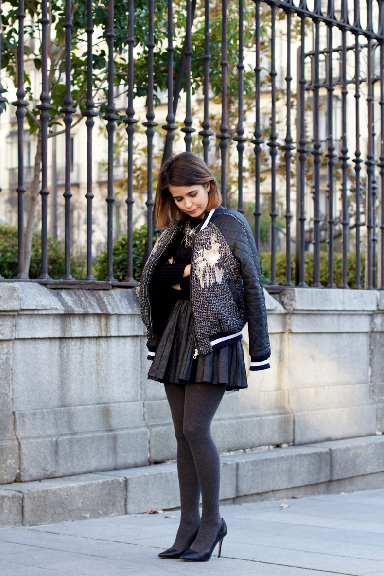 varsity_jacket_three_floor-leather_skirt-grey_and_black-street_style-outfits